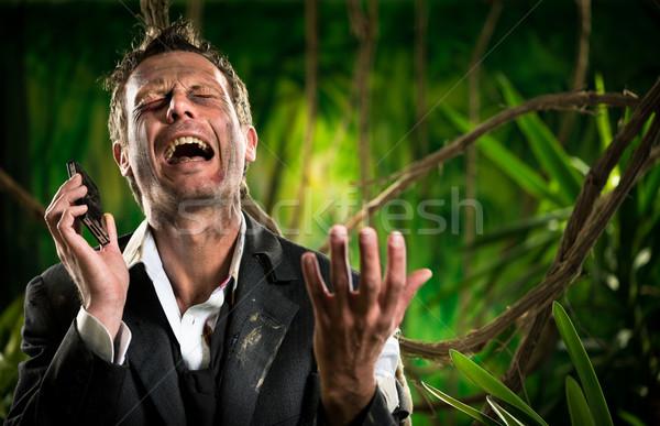 Perdido negocios selva desesperado empresario llamando Foto stock © stokkete
