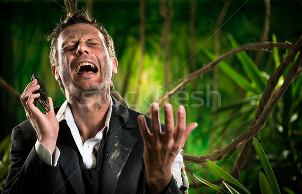 Perdido negócio selva desesperado empresário chamada Foto stock © stokkete