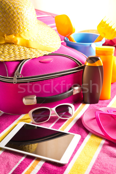Holidays background with tablet Stock photo © stokkete