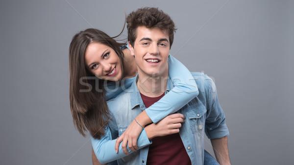 Smiling couple having fun Stock photo © stokkete