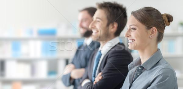 Geschäftsleute Seminar lächelnd genießen Business Büro Stock foto © stokkete