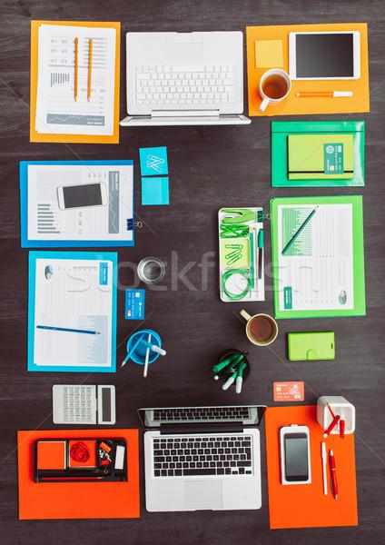 Stok fotoğraf: Yaratıcı · iş · renkli · takım · masaüstü · Çalışma · alanı