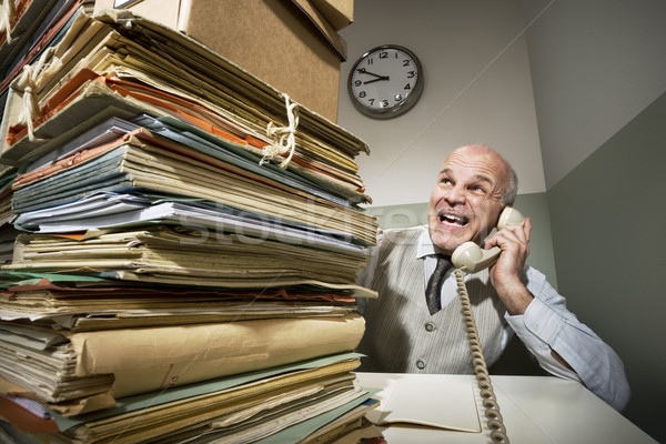 Stock photo: Vintage businessman on the phone