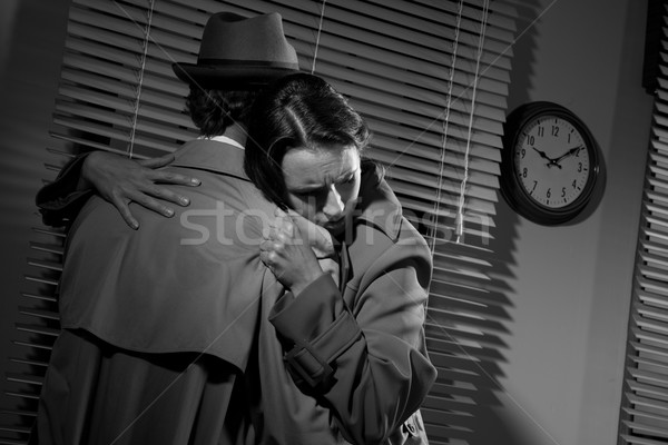 Férfi fiatal nő iroda nyomozó ölel film Stock fotó © stokkete