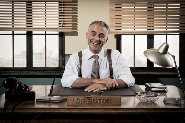 Lächelnd Jahrgang Direktor Sitzung heiter Stock foto © stokkete