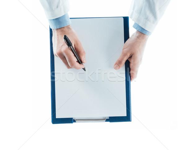 Medico iscritto prescrizione appunti bianco top Foto d'archivio © stokkete