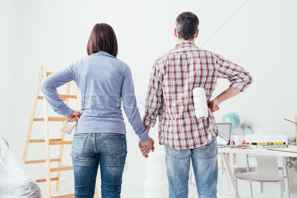 Couple doing a home makeover Stock photo © stokkete