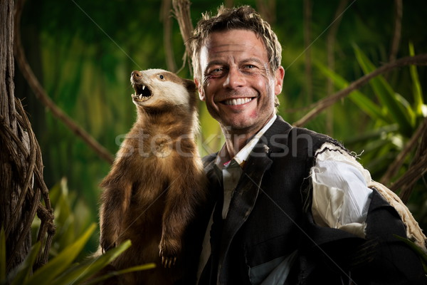 Businessman posing with badger Stock photo © stokkete