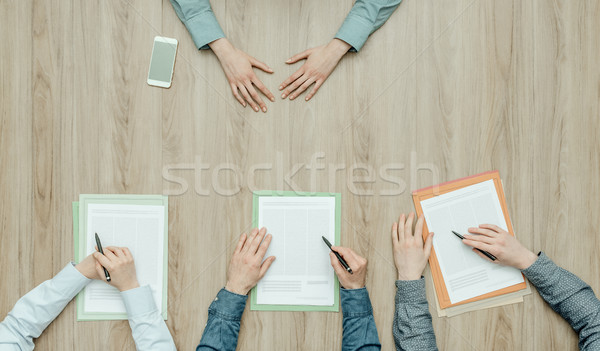 Sollicitatiegesprek jonge vrouw werving werk top Stockfoto © stokkete