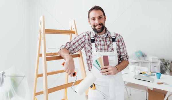 プロ 画家 ポーズ 塗料 色 ストックフォト © stokkete