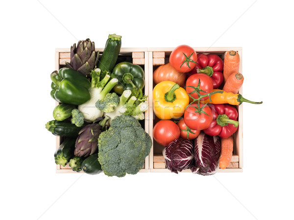 Fresh tasty vegetables in wooden crates Stock photo © stokkete