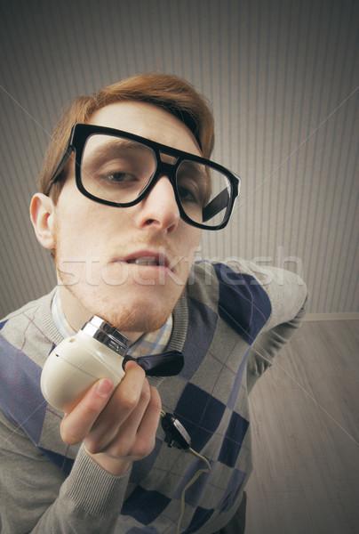 Stréber diák klasszikus elektromos retro életstílus Stock fotó © stokkete