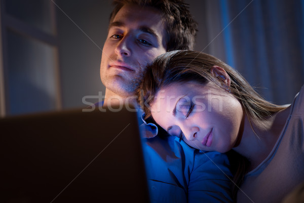Stockfoto: Home · laptop · ontspannen · sofa