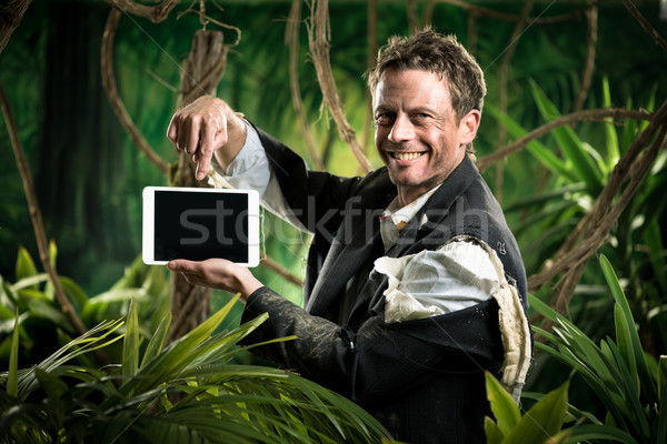 Empresário comprimido selva floresta digital Foto stock © stokkete