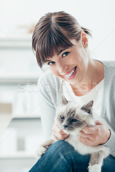Woman caressing her birman cat Stock photo © stokkete