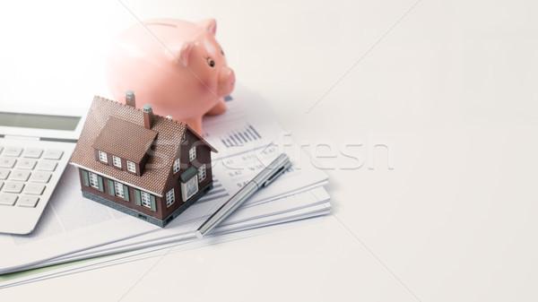 Ingatlan lakáshitel modell ház persely számológép Stock fotó © stokkete