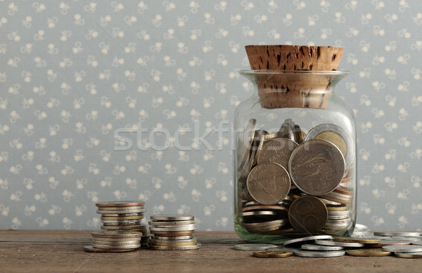 Antika madeni para ahşap masa eski iş para Stok fotoğraf © stokkete