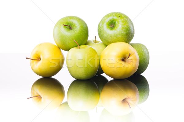 Lédús almák fehér citromsárga zöld fényes Stock fotó © stokkete