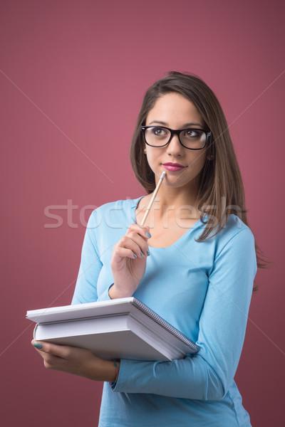 Stockfoto: Smart · student · boeken · mooie · meisje · bril
