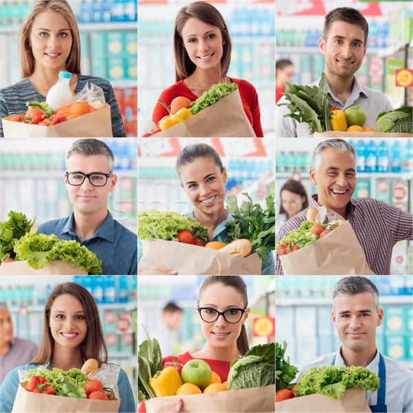 Menschen Warenkorb Supermarkt glückliche Menschen Kundschaft halten Stock foto © stokkete