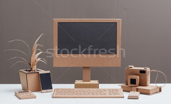 Eco-friendly creative cardboard office Stock photo © stokkete