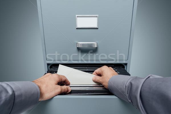 Foto stock: Escritório · arquivos · armazenamento · de · dados · pessoal
