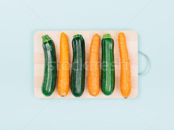 Foto stock: Cenouras · abobrinha · preparação · de · alimentos · alimentação · saudável