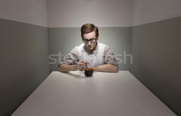 Kahve molası geek adam küçük oda gözlük Stok fotoğraf © stokkete
