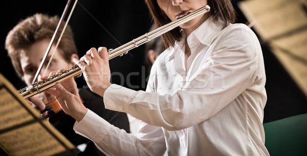Flutist on stage Stock photo © stokkete