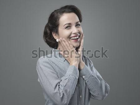 Cheerful 1950s woman feeling awesome Stock photo © stokkete