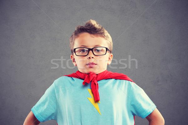Küçük süper kahraman düşler portre maske Stok fotoğraf © stokkete