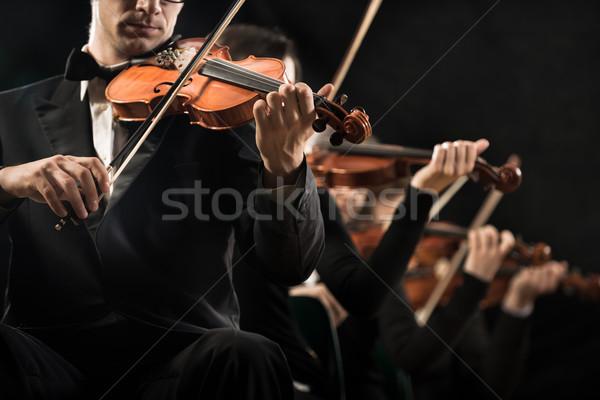 Hegedű zenekar előad színpad sötét művész Stock fotó © stokkete