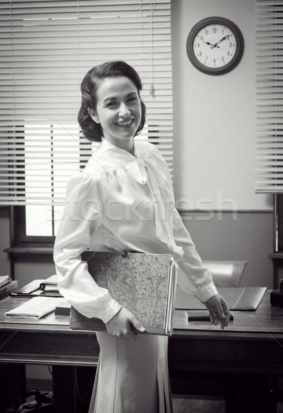 Cute vintage secretary at work Stock photo © stokkete