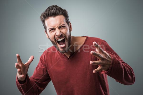 öfkeli adam dışarı yüksek sesle agresif Stok fotoğraf © stokkete