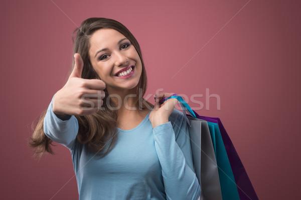 顧客満足 幸せ 笑顔の女性 ショッピング ストックフォト © stokkete