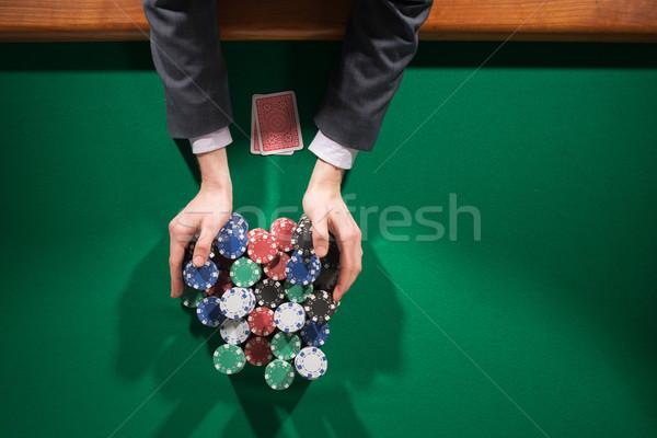 összes fogadás póker játékos fogadás tart Stock fotó © stokkete