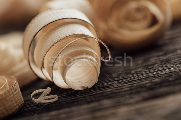 Wood shavings on the carpenter's workbench Stock photo © stokkete