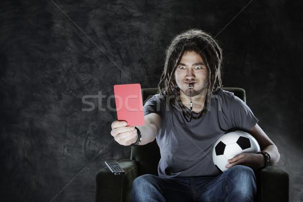 Futball ventillátor tv nézés döntőbíró néz játék Stock fotó © stokkete
