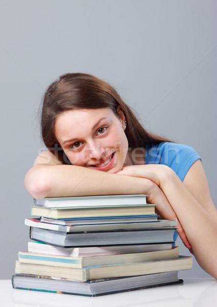 Meisje student glimlachend mooie jonge vrouwelijke Stockfoto © stokkete