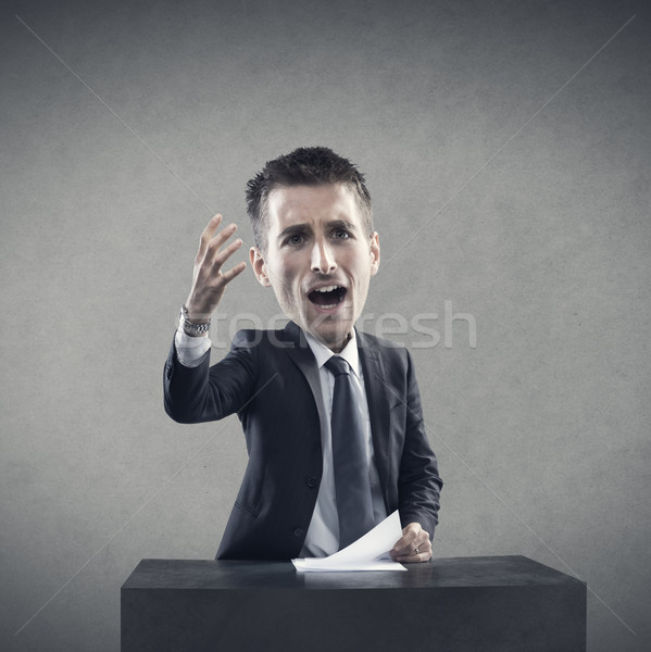 Conferentie praten jonge zakenman presentatie man Stockfoto © stokkete
