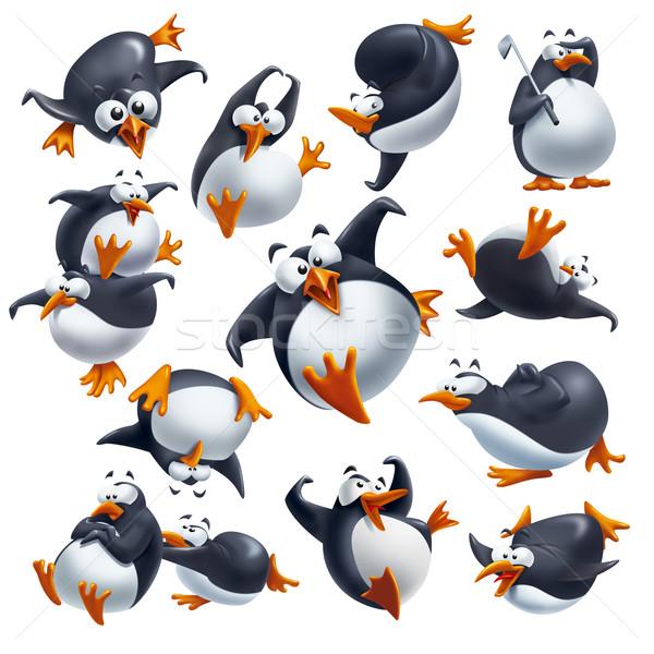Funny penguins Stock photo © stokkete