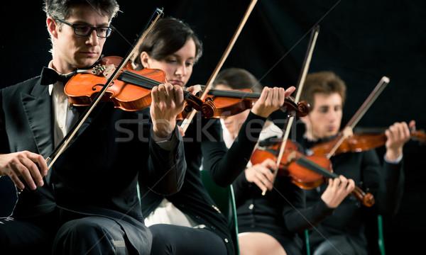 Violino orquestra etapa escuro artista Foto stock © stokkete