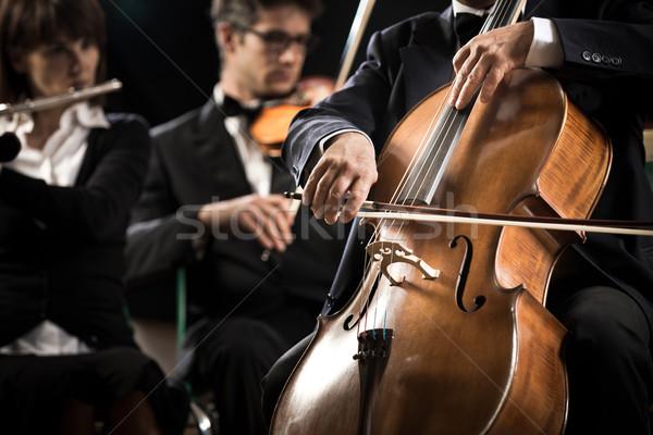 Symphony orchestra: cello player close-up Stock photo © stokkete