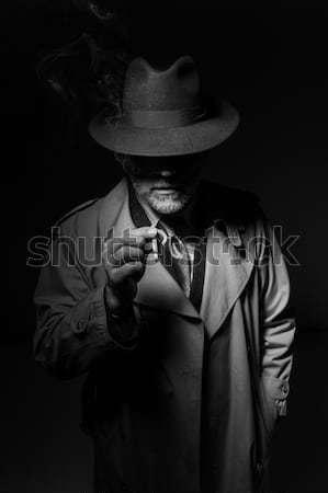 Człowiek pistolet detektyw fedora Zdjęcia stock © stokkete