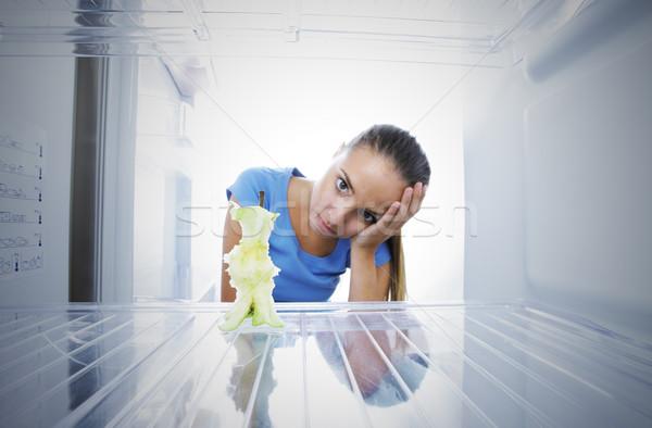危機 若い女性 不幸 参照してください 空っぽ 冷蔵庫 ストックフォト © stokkete