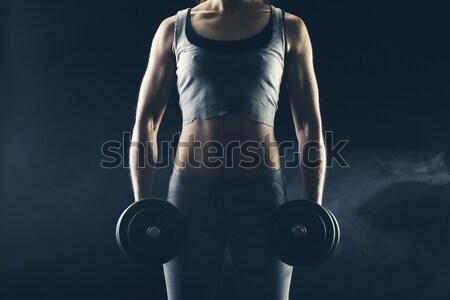 ボディービル フィットネス女性 重み 暗い 女性 少女 ストックフォト © stokkete