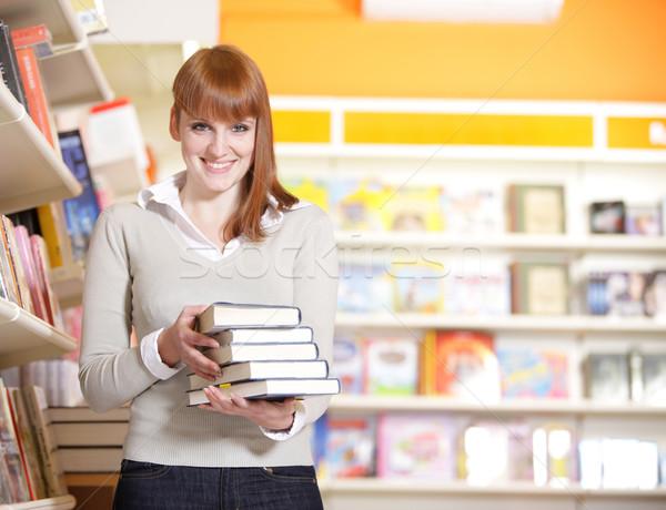 Сток-фото: молодые · библиотека · портрет · книгах