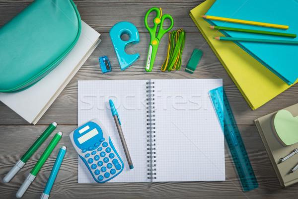 Abierto cuaderno colorido papelería espiral escuela Foto stock © stokkete