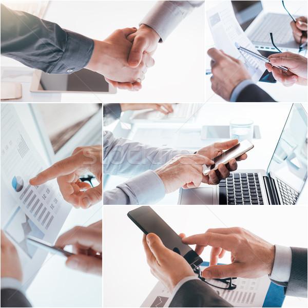 Negócio homem de negócios trabalhando laptop escritório povos Foto stock © stokkete
