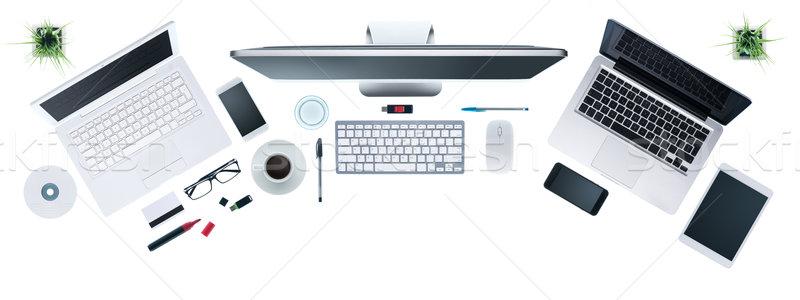 Business Desktop Computer Set digitalen Tablet Stock foto © stokkete